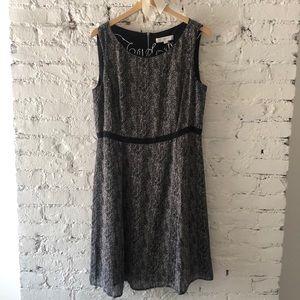 Loft Black Gray Checkered Print Work Dress Modest